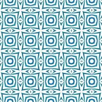 テキスタイルレディの魅力的なプリント、水着生地、壁紙、ラッピング。ブルーの著名な自由奔放に生きるシックな夏のデザイン。ストライプの手描きの境界線を繰り返します。縞模様の手描きデザイン。