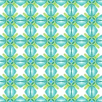 テキスタイル対応の面白いプリント、水着生地、壁紙、ラッピング。緑の魅惑的な自由奔放に生きるシックな夏のデザイン。メダリオンシームレスパターン。水彩メダリオンシームレスボーダー。
