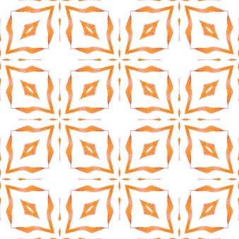 テキスタイルレディアーティスティックプリント、水着生地、壁紙、ラッピング。オレンジの圧倒的な自由奔放に生きるシックな夏のデザイン。緑の幾何学的なシェブロン水彩ボーダー。シェブロン水彩パターン。
