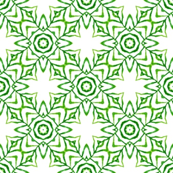 テキスタイルレディの妖艶なプリント、水着生地、壁紙、ラッピング。緑のエキゾチックな自由奔放に生きるシックな夏のデザイン。縞模様の手描きデザイン。ストライプの手描きの境界線を繰り返します。