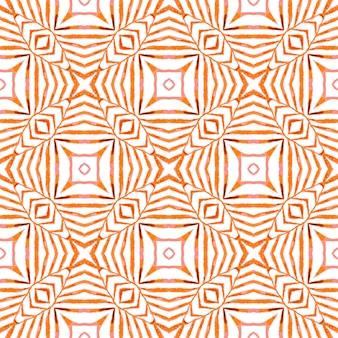 テキスタイルレディの妖艶なプリント、水着生地、壁紙、ラッピング。オレンジ色のゴージャスな自由奔放に生きるシックな夏のデザイン。アラベスク手描きデザイン。東洋のアラベスク手描きの境界線。