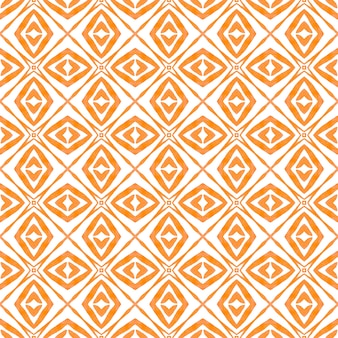 Textile ready captivating print, swimwear fabric, wallpaper, wrapping. orange radiant boho chic summer design. tiled watercolor background. hand painted tiled watercolor border.