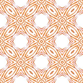 テキスタイル対応の楽しいプリント、水着生地、壁紙、ラッピング。オレンジ色の美しい自由奔放に生きるシックな夏のデザイン。水彩の夏のエスニックボーダーパターン。エスニック手描きパターン。
