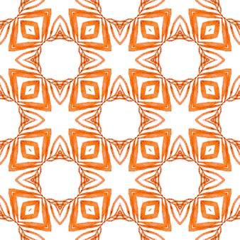 Textile ready divine print, swimwear fabric, wallpaper, wrapping. orange magnetic boho chic summer design. watercolor ikat repeating tile border. ikat repeating swimwear design.