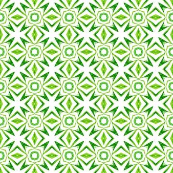 テキスタイル対応のエレガントなプリント、水着生地、壁紙、ラッピング。緑の注目に値する自由奔放に生きるシックな夏のデザイン。水彩メダリオンシームレスボーダー。メダリオンシームレスパターン。