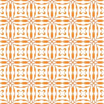 Текстиль готов, исключительный принт, ткань для купальных костюмов, обои, упаковка. оранжевый причудливый летний дизайн в стиле бохо. мозаика бесшовные модели. ручной обращается зеленая мозаика бесшовные границы.