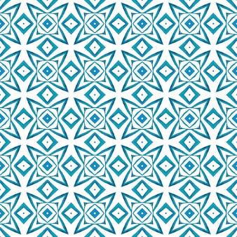 テキスタイルレディフェッチプリント、水着生地、壁紙、ラッピング。ブルーオリジナルの自由奔放に生きるシックな夏のデザイン。緑の幾何学的なシェブロン水彩ボーダー。シェブロン水彩パターン。