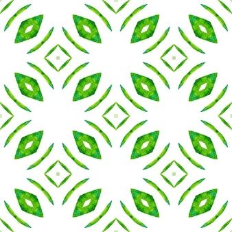 Текстиль готовый свежий принт, ткань купальников, обои, упаковка. зеленый красивый бохо шикарный летний дизайн. акварель икат, повторяющаяся граница плитки. икат повторяющийся дизайн купальников.