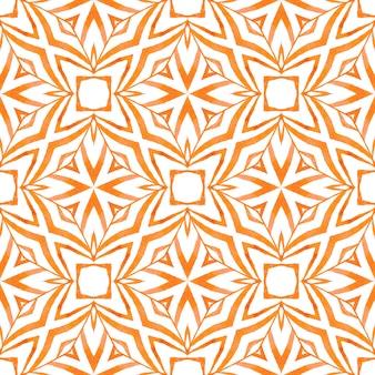 テキスタイル対応の想像力豊かなプリント、水着生地、壁紙、ラッピング。オレンジの崇高な自由奔放に生きるシックな夏のデザイン。タイル張りの水彩画の背景。手描きのタイル張りの水彩画の境界線。