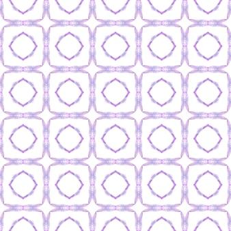 テキスタイル対応の想像力豊かなプリント、水着生地、壁紙、ラッピング。紫の驚くべき自由奔放に生きるシックな夏のデザイン。トロピカルなシームレスパターン。手描きの熱帯のシームレスな境界線。