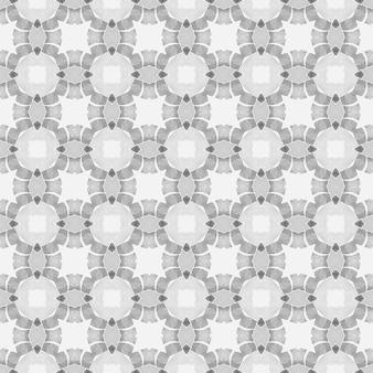 テキスタイル対応の真っ白なプリント、水着生地、壁紙、ラッピング。黒と白のエレガントな自由奔放に生きるシックな夏のデザイン。アラベスク手描きデザイン。東洋のアラベスク手描きの境界線。