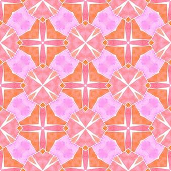 テキスタイル対応の真っ白なプリント、水着生地、壁紙、ラッピング。オレンジのまばゆいばかりの自由奔放に生きるシックな夏のデザイン。水彩の夏のエスニックボーダーパターン。エスニックな手描きのパターン。