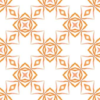 テキスタイル対応の消えないプリント、水着生地、壁紙、ラッピング。オレンジの素晴らしい自由奔放に生きるシックな夏のデザイン。水彩の夏のエスニックボーダーパターン。エスニック手描きパターン。