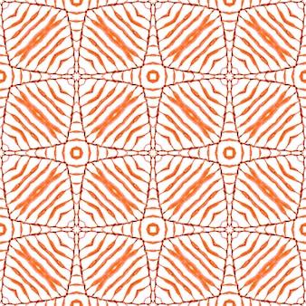 テキスタイル対応の活気のあるプリント、水着生地、壁紙、ラッピング。オレンジの魅力的な自由奔放に生きるシックな夏のデザイン。イカット繰り返し水着デザイン。タイルの境界線を繰り返す水彩画の絣。