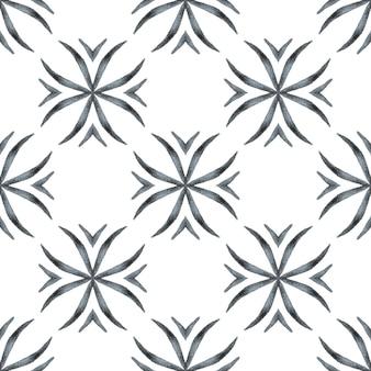 テキスタイル対応の心地よいプリント、水着生地、壁紙、ラッピング。黒と白のゴージャスな自由奔放に生きるシックな夏のデザイン。緑の幾何学的なシェブロン水彩ボーダー。シェブロン水彩パターン。