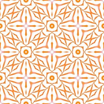 テキスタイル対応の人気プリント、水着生地、壁紙、ラッピング。オレンジ色の輝く自由奔放に生きるシックな夏のデザイン。トロピカルなシームレスパターン。手描きの熱帯のシームレスな境界線。