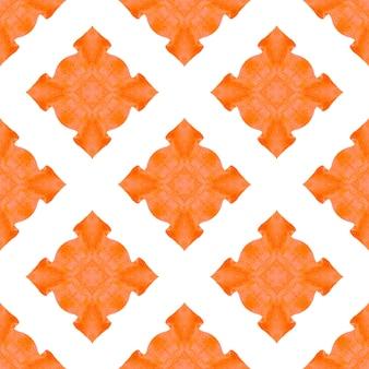 テキスタイルレディポジティブプリント、水着生地、壁紙、ラッピング。オレンジのメスメリック自由奔放に生きるシックな夏のデザイン。イカット繰り返し水着デザイン。タイルの境界線を繰り返す水彩画の絣。