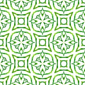 Текстиль готовый мощный принт, ткань купальников, обои, упаковка. зеленый живой бохо шикарный летний дизайн. акварель медальон бесшовные границы. медальон бесшовные модели.