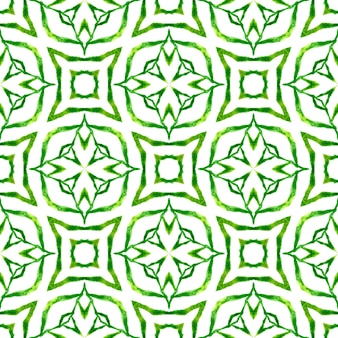 Textile ready powerful print, swimwear fabric, wallpaper, wrapping. green lively boho chic summer design. watercolor medallion seamless border. medallion seamless pattern.