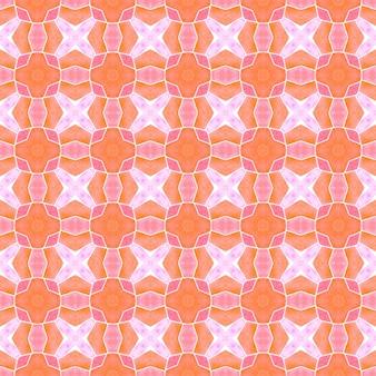 テキスタイルレディラディアントプリント、水着生地、壁紙、ラッピング。オレンジ色の壮大な自由奔放に生きるシックな夏のデザイン。エキゾチックなシームレスパターン。夏のエキゾチックなシームレスボーダー。