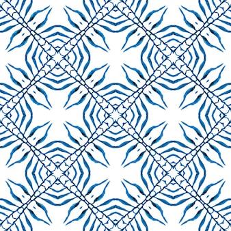 テキスタイルレディレアプリント、水着生地、壁紙、ラッピング。ブルーの心地よいボホシックな夏のデザイン。ストライプの手描きの境界線を繰り返します。縞模様の手描きデザイン。 Premium写真