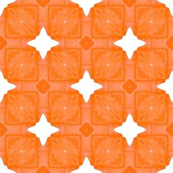テキスタイルレディの形の良いプリント、水着生地、壁紙、ラッピング。オレンジの驚くべき自由奔放に生きるシックな夏のデザイン。手描きのタイル張りの水彩画の境界線。タイル張りの水彩画の背景。