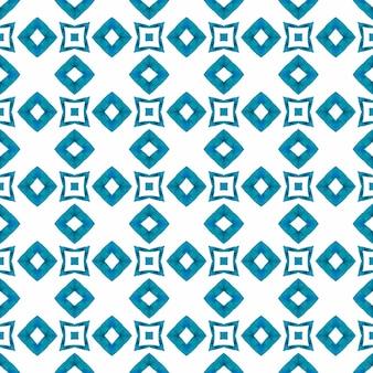 テキスタイル対応の見事なプリント、水着生地、壁紙、ラッピング。ブルーの絶妙な自由奔放に生きるシックな夏のデザイン。アラベスク手描きデザイン。東洋のアラベスク手描きの境界線。