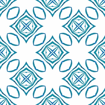 Textile ready stunning print, swimwear fabric, wallpaper, wrapping. blue fair boho chic summer design. watercolor ikat repeating tile border. ikat repeating swimwear design.