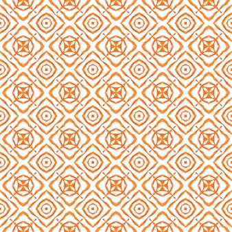 Textile ready stunning print, swimwear fabric, wallpaper, wrapping. orange comely boho chic summer design. oriental arabesque hand drawn border. arabesque hand drawn design.