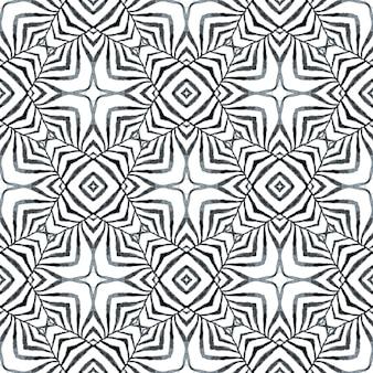 テキスタイル対応のスタイリッシュなプリント、水着生地、壁紙、ラッピング。黒と白の感情的な自由奔放に生きるシックな夏のデザイン。手描きの熱帯のシームレスな境界線。トロピカルなシームレスパターン。