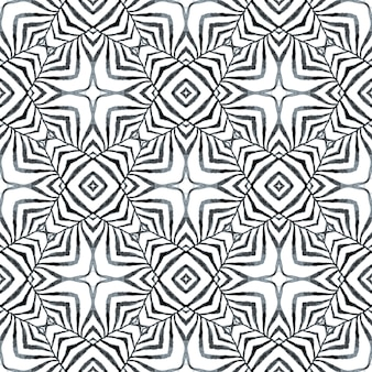Textile ready stylish print, swimwear fabric, wallpaper, wrapping. black and white emotional boho chic summer design. hand drawn tropical seamless border. tropical seamless pattern.