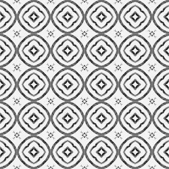 Textile ready wonderful print, swimwear fabric, wallpaper, wrapping. black and white neat boho chic summer design. hand drawn tropical seamless border. tropical seamless pattern.