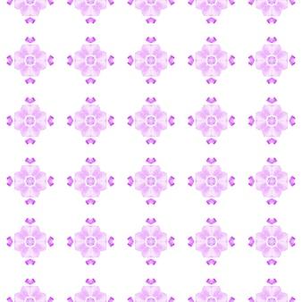 テキスタイルレディの素晴らしいプリント、水着生地、壁紙、ラッピング。紫の余分な自由奔放に生きるシックな夏のデザイン。水彩メダリオンシームレスボーダー。メダリオンシームレスパターン。