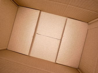 Texture background brown paper box , Empty open rectangular cardboard box
