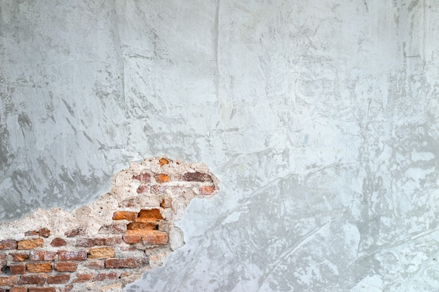 Texture background of cement walls and old brick cracks in the wall surface makes it feel retro