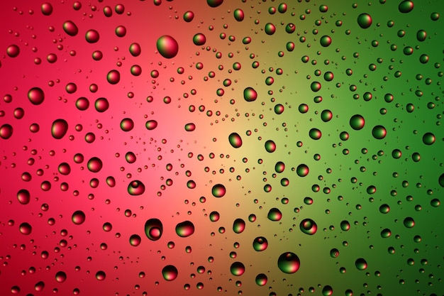 Texture and background of drops of water on a colored background