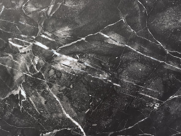 Texture of black marble with white lines, macro background