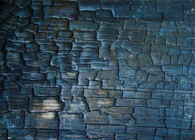 Texture of black wooden surface, wood burnt into charcoal