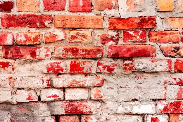 질감, 벽돌, 벽, 배경으로 사용할 수 있습니다. 흠집 및 균열 벽돌 질감
