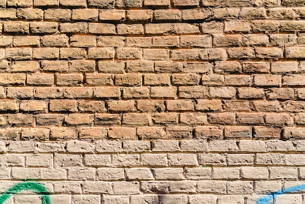 Texture of a brick wall painted in orange tones, ideal for background