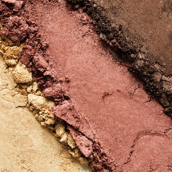 Texture of broken eyeshadow or powder. the concept of fashion and beauty industry. close-up.