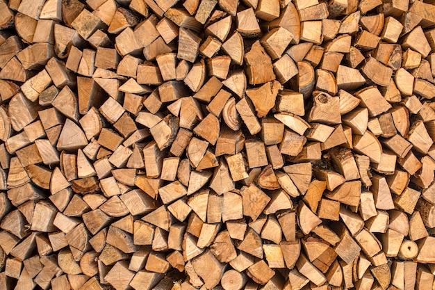 Текстура, колотые дрова из разных пород деревьев