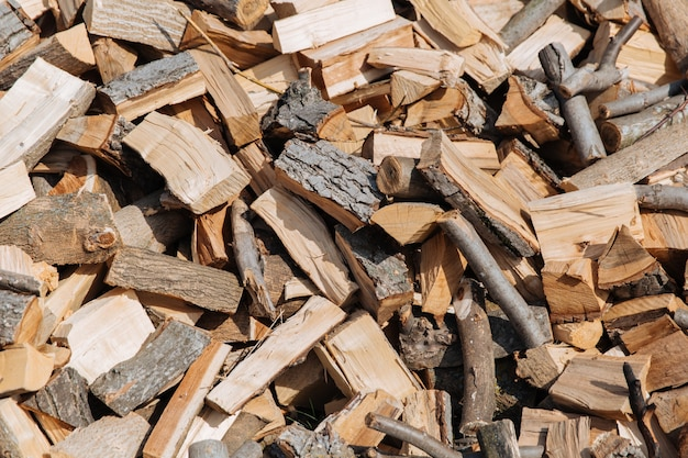 Текстура, колотые дрова с разных пород деревьев.