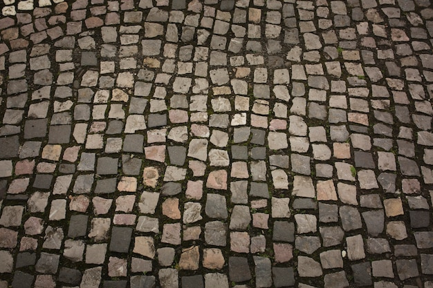 Texture of cobbles with grass in the city center of uzhgorod