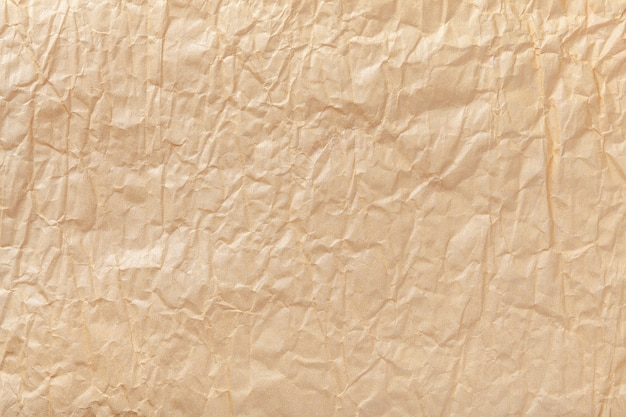 Texture of crumpled brown wrapping paper
