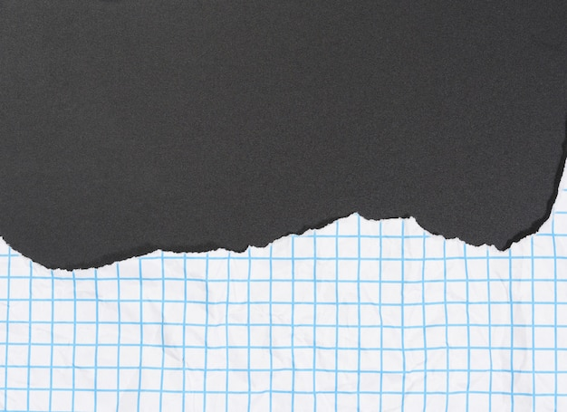 Texture of crumpled white paper in a cage, blue lines, torn edges on a black background Premium Photo