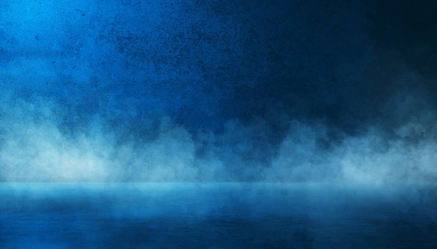 Texture dark blue concrete wall and floor with smoke or fog mist