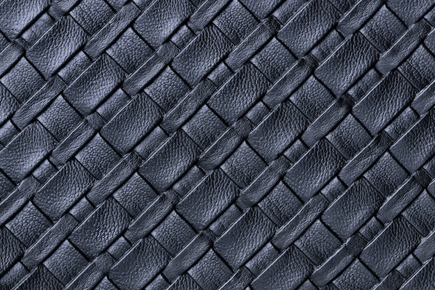 Texture of dark blue leather textile background with wicker pattern, macro.
