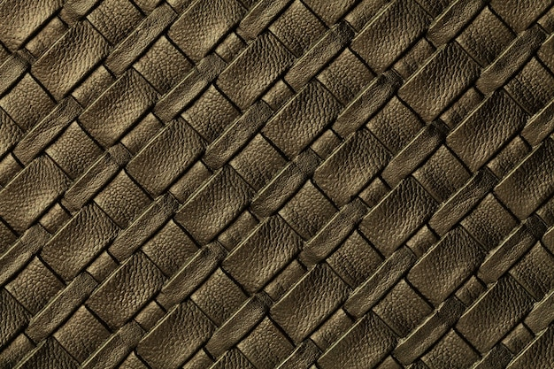 Texture of dark brown leather background with wicker pattern, macro.