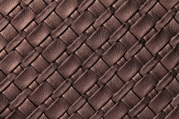 Texture of dark brown leather textile background with wicker pattern, macro.